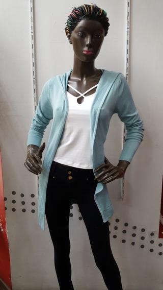 Sweter Para Dama Color Azul Con Gorro