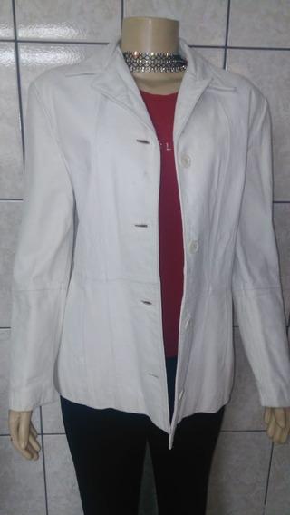 Vt 0348 Casaco De Couro Legítimo, Branco