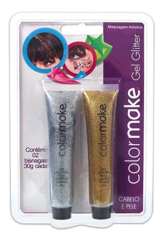 Imagem 1 de 1 de Gel Glitter Para Cabelo E Pele Prata E Dourado - Color Make