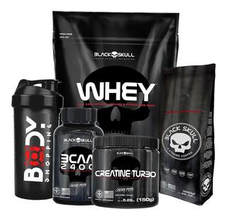 Whey 900g + Bcaa + Creatina + Shaker + Brinde - Black Skull