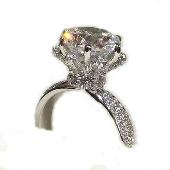 Anel Para Mulheres D Luxo Ocasiões Noivados Prata 925 Pedra