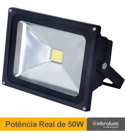 Refletor De Led 50w Real Holofote Branco Frio