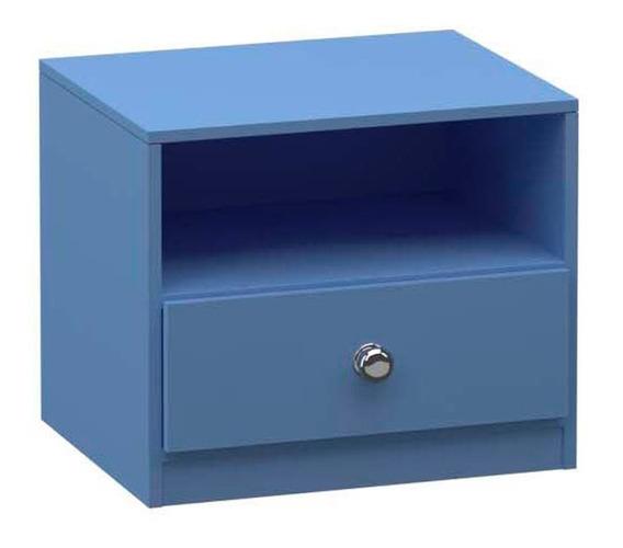 Criado Mudo 1 Gaveta Nicho 43x45cm Quarto Mdp Madeira Azul