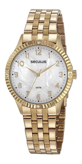 Relógio Seculus Feminino Casual Cristais Dourado 77047lpsvds