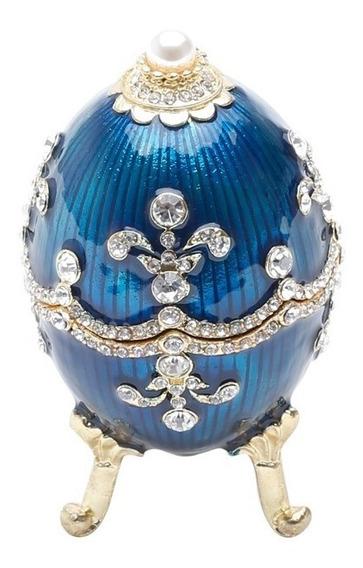 Porta-joias De Zamac Ovo Faberge Royal Azul Prestige R25655