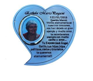 Placa Recordatoria Para Cementerio, Corazon.20x20cm Con Foto