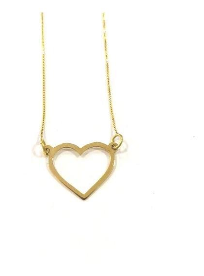 Gargantilha De Ouro 18k 750 Com Pingente De Coração