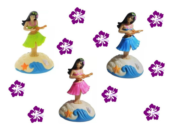 Boneca Havaiana Dança Hula Hula Luz Solar Carro Fusca Kombi