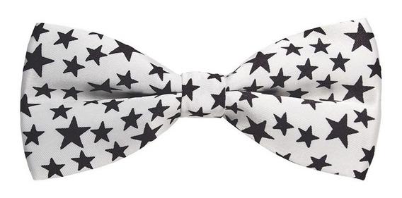 Corbatín Humita Diseño Estrellas Blanco Con Negro
