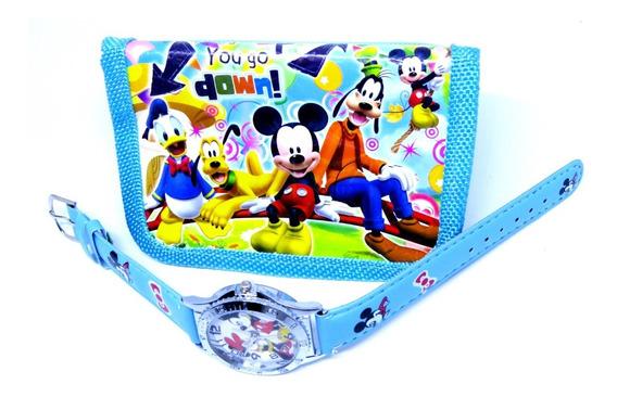 Relógio Mickey Mouse Analógico + Carteira 3d Personalizada