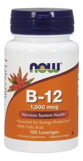 Vitamina B12 1000mcg E Ácido Fólico 100 Cap Sublingual - Now