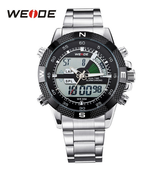 Relógio Masculino Weide Anadigi Wh-1104 Prata Original Luxo