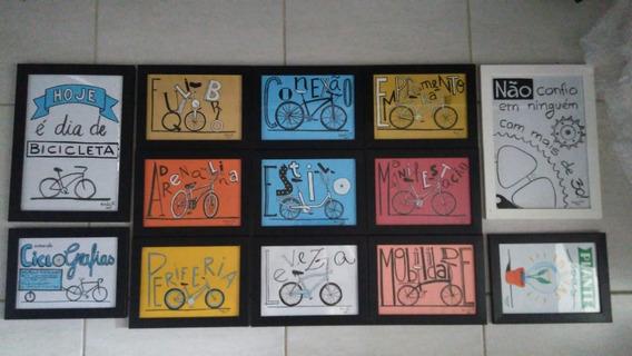 Quadro Desenho Bicicleta Arte Decoração Tamanhoa5 Emoldurado