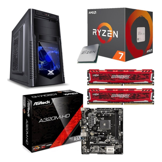 Kit Orion Ryzen R7 2700 Asrock A320m Hd Bl 16gb Ballistix