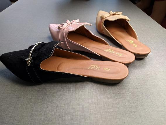 Sapatilhas Feminina - 3 Pares De Sapatos Mule