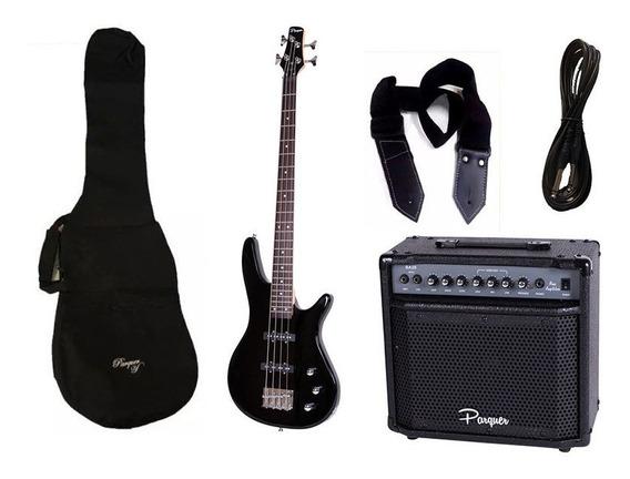 Combo Bajo Electrico Parquer Jazz Bass Negro Amplificador 20