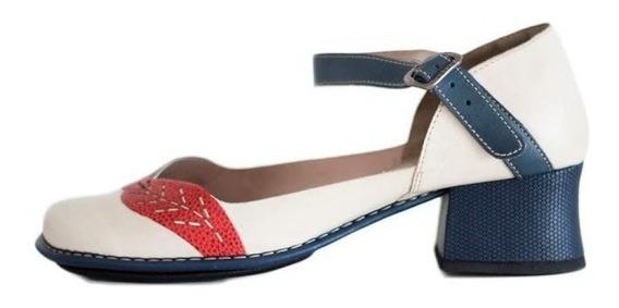 Sapato Boneca Salto Grosso Quadrado Estilo Retrô Vintage0091