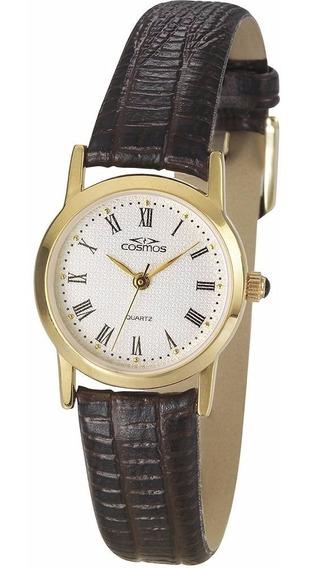 Relógio Feminino Cosmos Analógico Social Dourado Os28830s