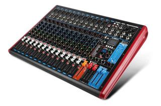 Xtuga Ftm12 12 Canales Mezclador Audio Profesional Sonido Dsp De 99 Bits Estéreo,con Función Grabable Y Pantalla Digital