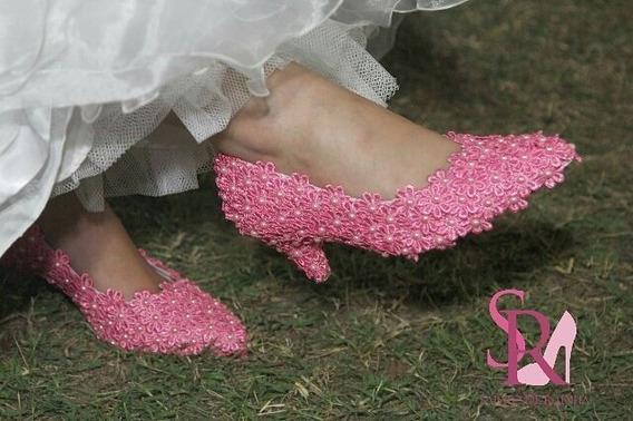 Sapato De Noiva Pérolas Rosa