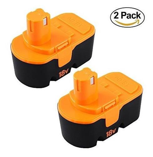 2 Paquetes Reemplazo De Bateria De 18 V 3.0ah Para Ryobi One