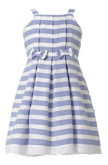 Vestido Niña - Rayado Azul Talla 4, 6, 8, 10 (importado- Nuevo Con Etiquetas)