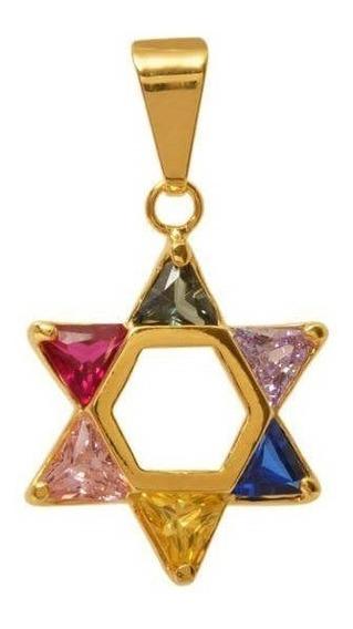 Pingente Estrela De Davi Dourado - Direito De Israel 1