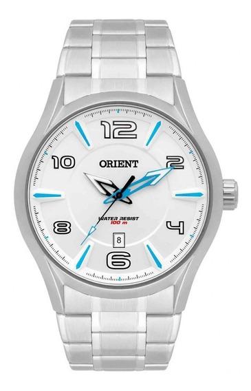 Relogio Orient Masculino Esportivo Branco Azul Mbss1318 S2sx