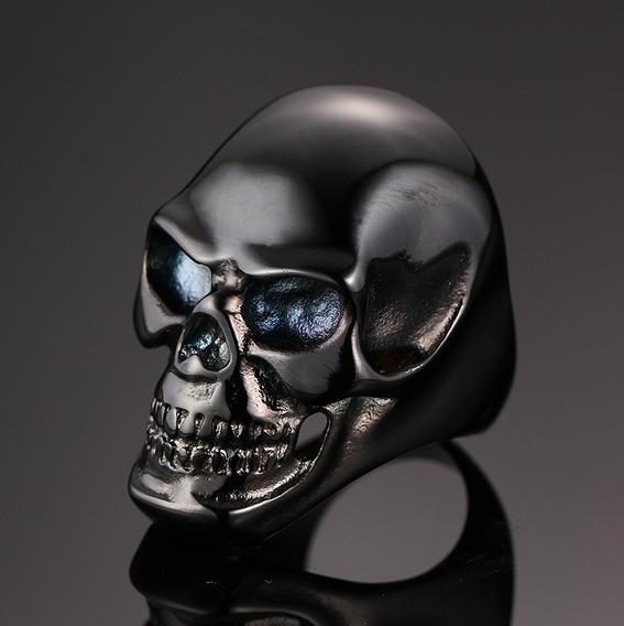 Anel Masculino Titânio Caveira Motoqueiro Harley Rock Gotico
