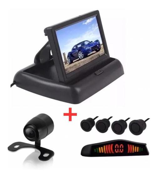 Kit Monitor Retrátil Sensor Preto Fosco/embo Câmera Santa Fé