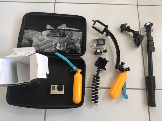 Câmera Gopro Hero 3+ Silver Edition E Maleta Com Acessórios