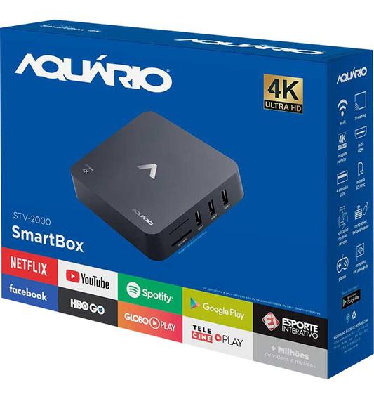 Smart Box Android Tv Stv2000 Preto Homologado Aquario Oferta