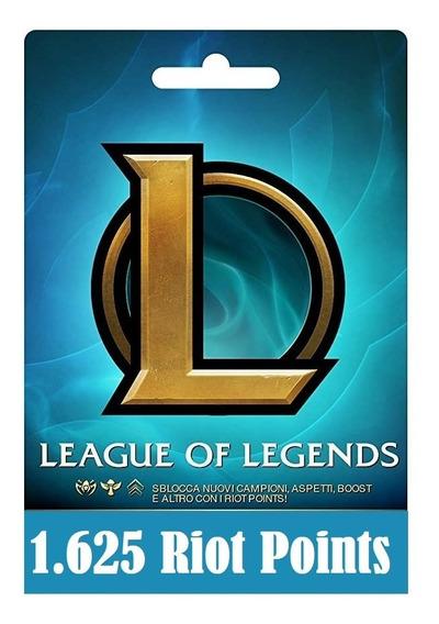 Cartão League Of Legends Lol - 1625 Riot Points Rp Br Brasil