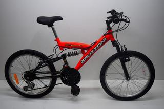 Bicicleta Rodado 20 Doble Suspension Bruzzoni 18 Velocidades