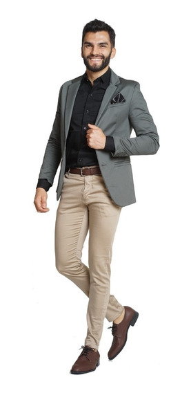 Trajes Hombre Saco Slim Fit Con Chupin Y Pañuelo Import Usa