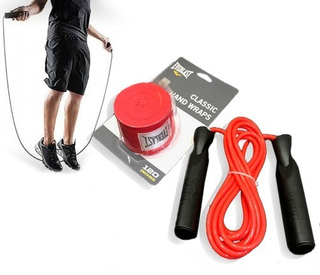 Kit De Boxeo: Par De Vendas 3,05 Mts Y Soga Ruleman Everlast