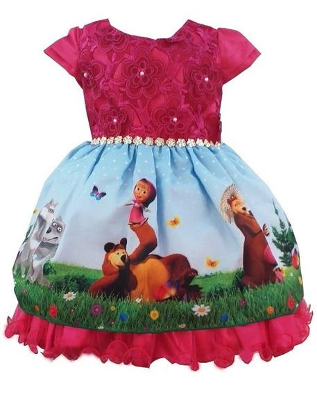 Vestido Temático Infantil Masha E O Urso 1 Ao 3