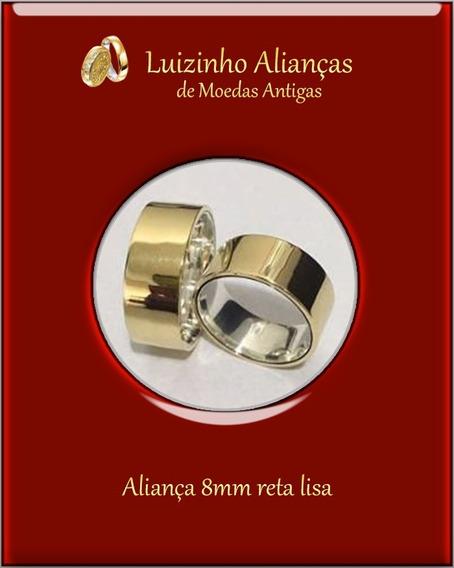 Par Alianças De Moeda Antiga 8mm Reta Lisa