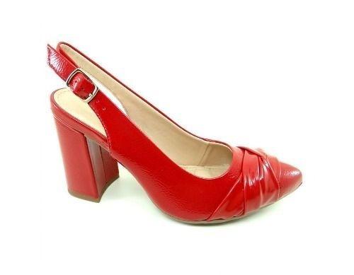 Sapato Dakota Salto Peeptoe Feminino Vermelho Brinde
