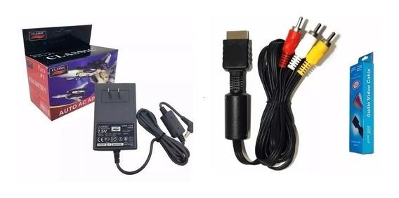 1 Fonte Playstation One Ps1 + 1 Cabo Áudio E Vídeo Para Ps1