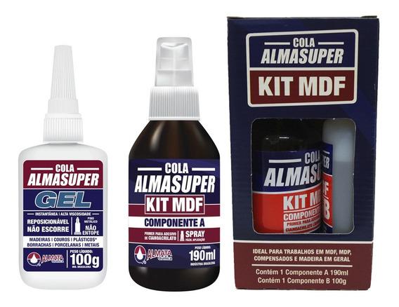 Kit Mdf Almasuper Cola Instantânea + Catalisador Acelerador