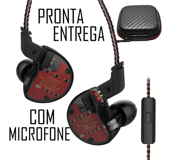 Fone Kz Zs10 10 Drives Com Microfone Híbrido Monitor Retorno