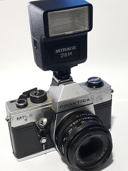 Câmera Reflex Praktica Mtl 5 (1983)+ Lente 50mm + Flash