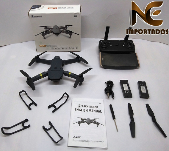Drone Eachine E58 Wifi Fpv 3,0 Mp 480p Hd C/ 3 Baterias Novo