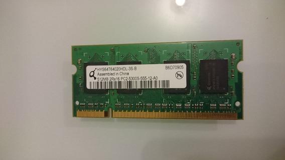 Memória Qimonda 512mb 2rx16 Pc2-5300s-555 Para Notebook.