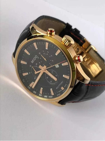 Reloj Mido Multifort Acero Dorado Y Piel