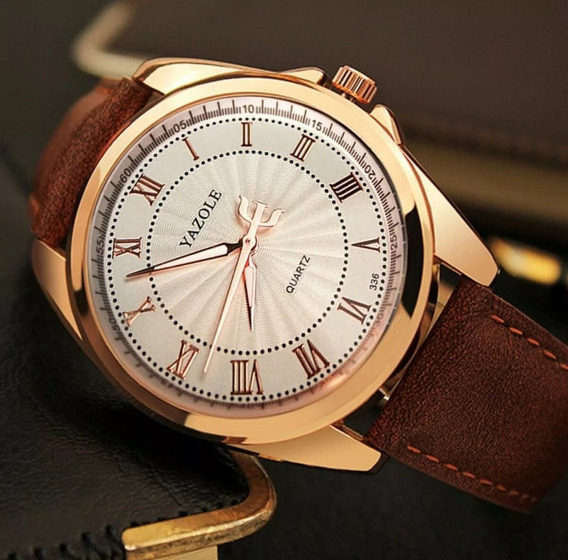 Relógio Masculino Estiloso De Luxo Marrom Original Yazole