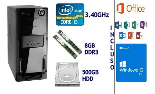 Computador -  Core I3 3.40ghz, 8gb, Hd500gb, W10, Pct Office