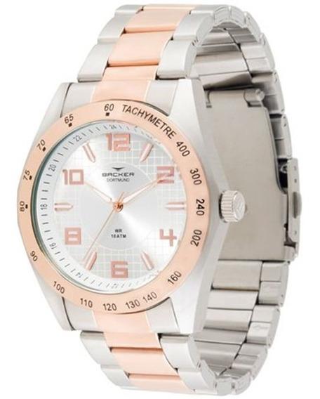 Relógio Backer Feminino Prata E Rosé Aço 6417164m Si
