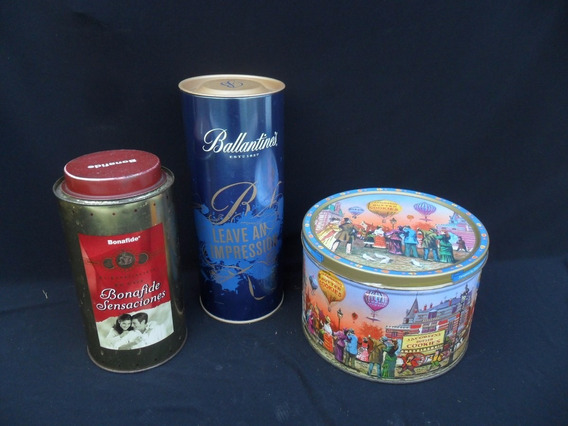 Lote 3 Latas Decoracion Cafe Galletita Antigua Vintage